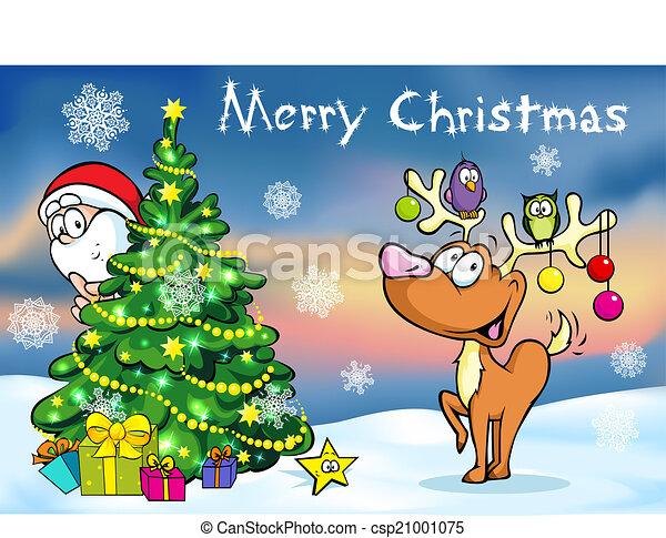 Merry Christmas greeting card, santa claus hidden behind e tree and reindeer vector illustration - csp21001075