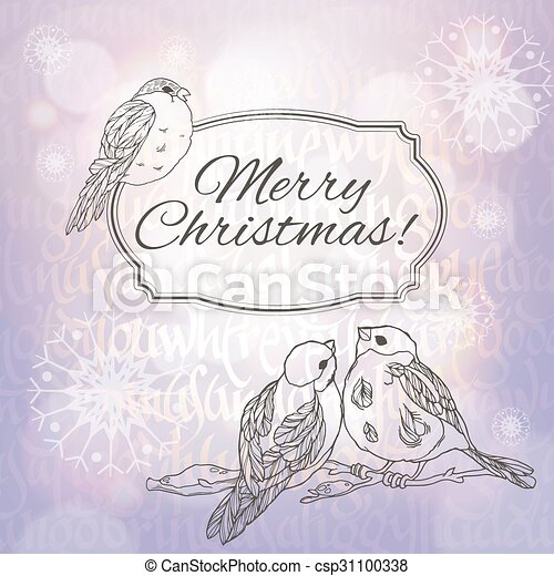 Merry Christmas greeting card with bullfinches and snowflakes on the lilac gradient background with sunlight - csp31100338