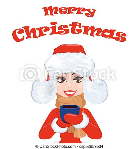 Merry christmas greeting card with beautiful woman in winter clothes merry christmas greeting card with beautiful woman in winter clothes holding a cup of hot drink m4hsunfo