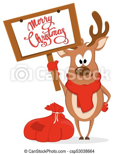 merry christmas greeting card with funny reindeer standing near bag with presents and holding placard with - Funny Merry Christmas Greetings
