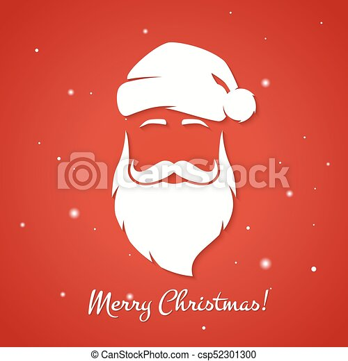 Merry Christmas Illustration.Merry Christmas Greeting Card With Santa Claus Silhouette