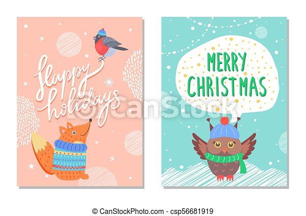 Merry christmas greeting cards squirrel and owl merry christmas merry christmas greeting cards squirrel and owl csp56681919 m4hsunfo