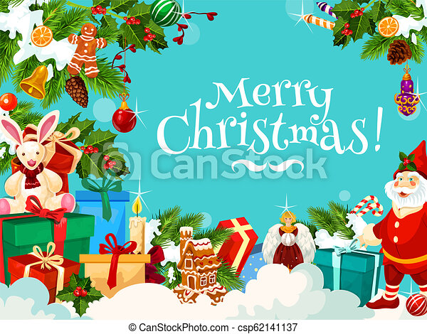 Merry Christmas greetings with Santa gifts, vector - csp62141137