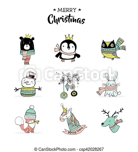 Merry Christmas Hand Drawn Cute Doodles Stickers Illustrations Penguin Bear Owl Deer And Unicorn