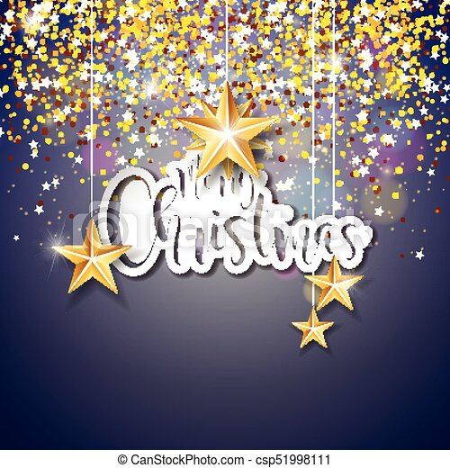 Merry Christmas Hand Lettering Illustration with Paper Label on Shiny Glittered Background. Vector EPS 10 Holiday Design. - csp51998111