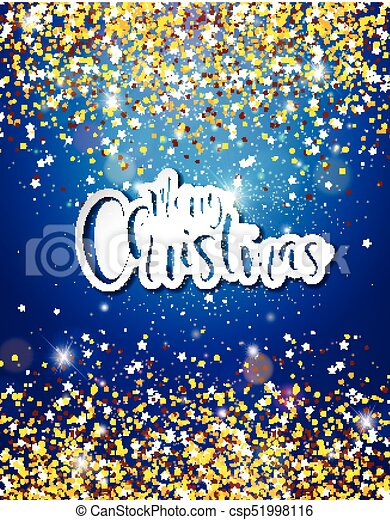 Merry Christmas Hand Lettering Illustration with Paper Label on Shiny Glittered Background. Vector EPS 10 Holiday Design. - csp51998116