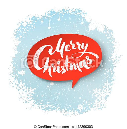Merry christmas hand written letters on red bubble banner ...