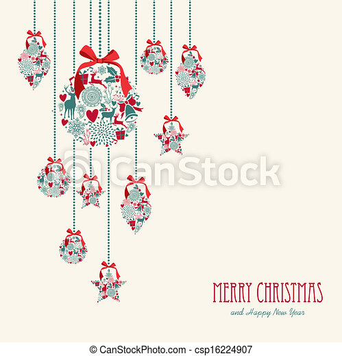 merry christmas hanging elements decoration composition csp16224907