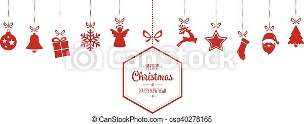 merry christmas hanging red ornaments background - csp40278165