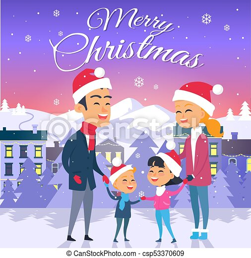 Merry Christmas Happy Family Of Four Outdoors Merry Christmas Cartoon Family Of Four Members In Santa Claus Red Hats In Canstock