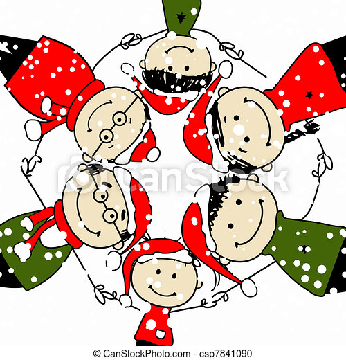 Merry christmas! happy family illustration for your design.