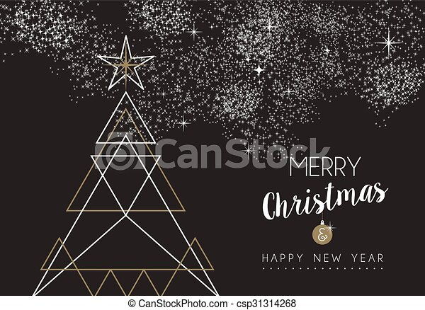 Merry Christmas Happy New Year Deco Tree Outline Merry Christmas Happy New Year Pine Tree Design In Art Deco Outline Style Canstock