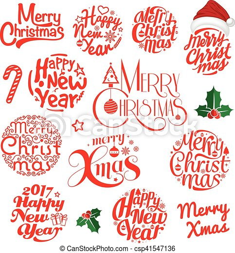 14++ Merry Christmas And Happy New Year Lettering