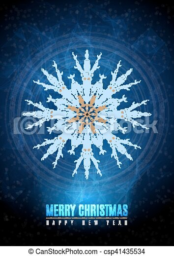 merry christmas happy new year fancy gold winter snowflake shape in hipster origami style ideal for