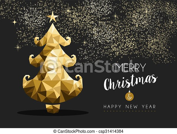 merry christmas happy new year golden pine tree low poly merry