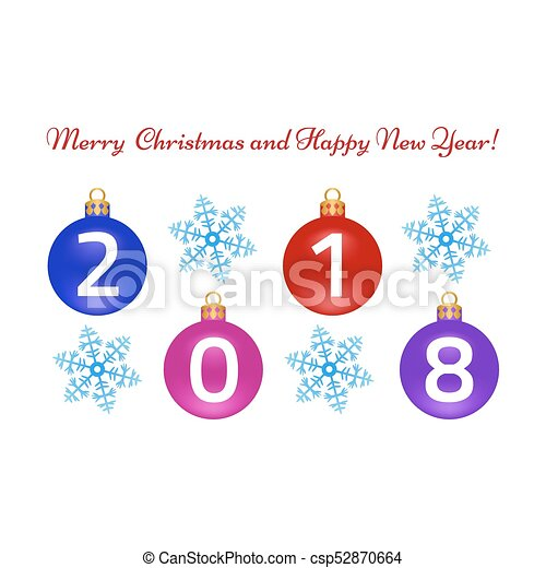 Merry christmas, happy new year greeting card on white background ...