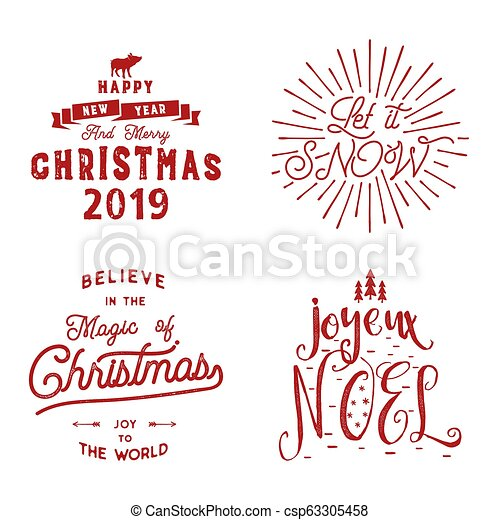 Photos De Joyeux Noel 2019.Merry Christmas Happy New Year Joyeux Noel 2019 Typography Set Holiday Logo Emblems Text Design Use For T Shirts Banners Greeting Cards