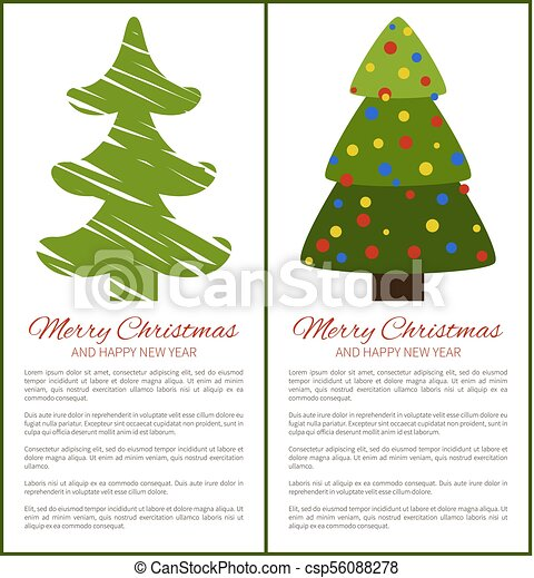 Merry christmas happy new year posters with tree. Merry christmas ...