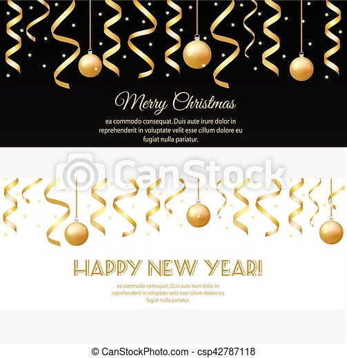 merry christmas happy new year horizontal banners with golden streamers and baubles csp42787118