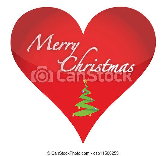 Christmas Heart Vector.Merry Christmas Heart