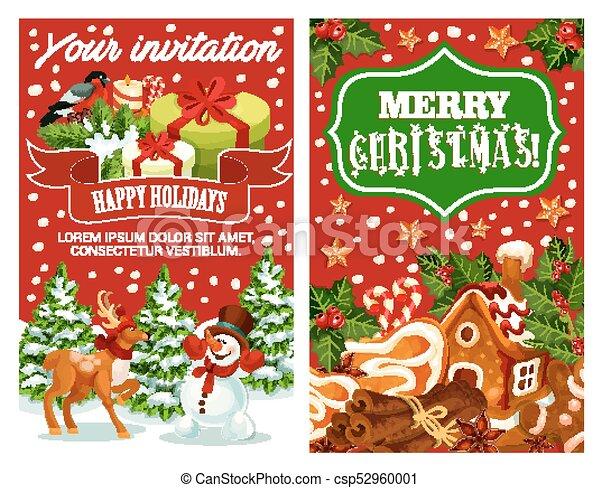 Merry Christmas holiday greeting vector card - csp52960001