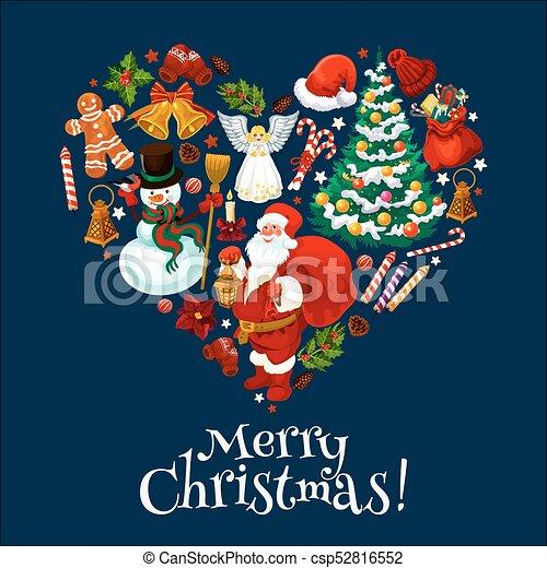 Christmas Heart Vector.Merry Christmas Holiday Heart Shape
