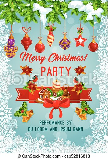 Christmas Invitation.Merry Christmas Holiday Party Vector Poster