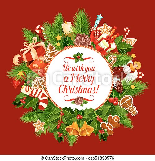 Christmas Wishes Card.Merry Christmas Holiday Wish Vector Greeting Card