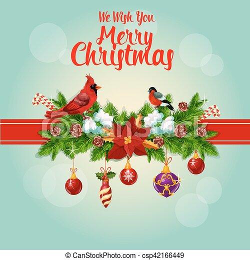Christmas Cardinals Clipart.Merry Christmas Holly Garland And Cardinal Birds