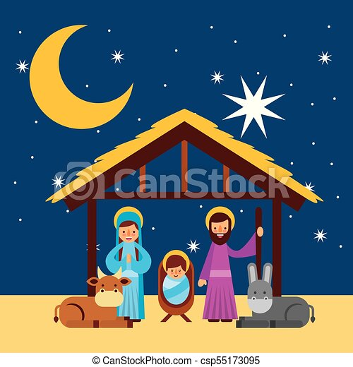 Merry Christmas Holy Family Traditional Religious Scene Of The Manger Vector Illustration Canstock