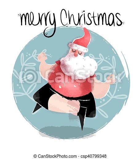 Merry Christmas Funny Images.Merry Christmas Illustration Of Funny Yoga Santa
