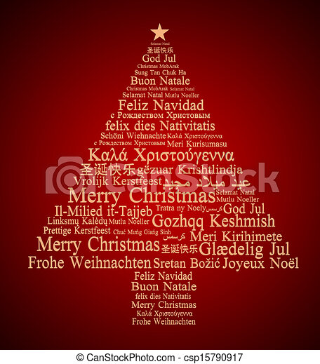 merry christmas in different languages forming a christmas tree csp15790917