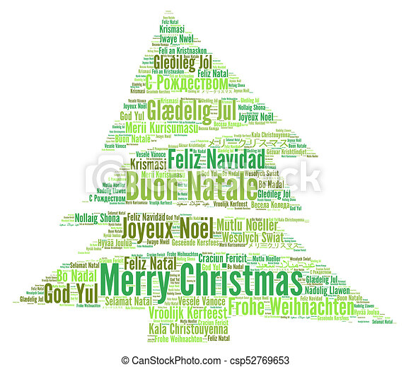 merry christmas in different languages word cloud csp52769653