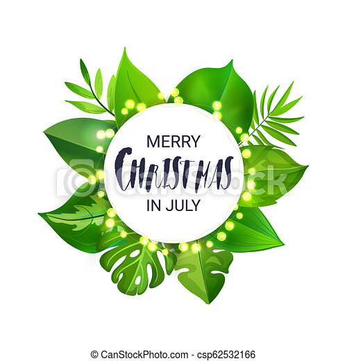Christmas In July Clipart.Merry Christmas In July Floral Banner With Luminous Garland And Tropical Palm Leaves
