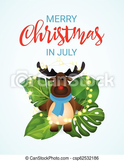 Merry Christmas In July Clipart.Merry Christmas In July Greeting Banner With Cartoon Reindeer And Tropical Palm Tree Leaves