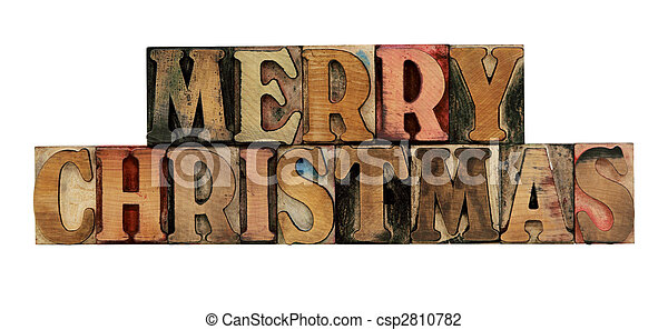 Merry Christmas in letterpress wood type - csp2810782