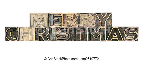 Merry Christmas in outline letterpress wood letters - csp2810772