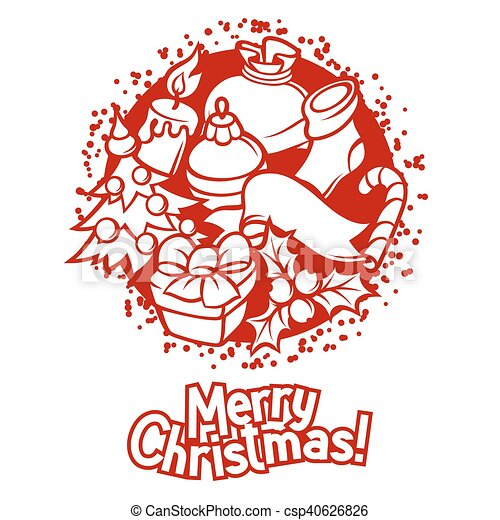 Merry Christmas Invitation Card With Holiday Symbols