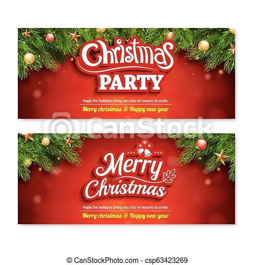 Merry Christmas Invitation Party Poster Banner And Greeting Card Design Template On Red Background Happy Holiday And New Year With Gift Box Theme