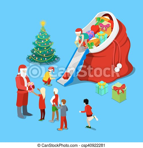 Merry christmas isometric greeting card with christmas tree santa merry christmas isometric greeting card with christmas tree santa claus giving presents to the m4hsunfo