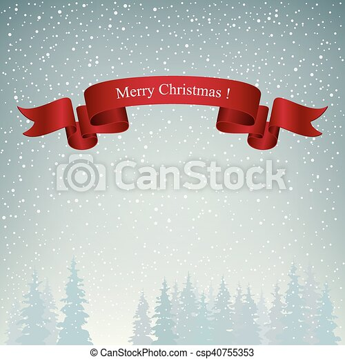 Merry Christmas Landscape in Gray Shades - csp40755353