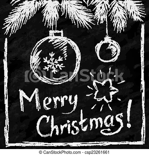 Merry Christmas lettering and balls in naive chalkboard style - csp23261661