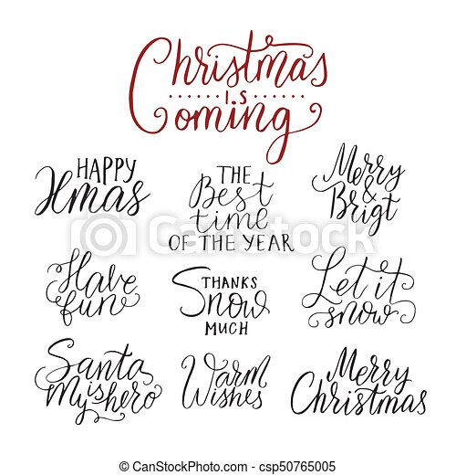 Christmas Lettering.Merry Christmas Lettering Typography Handwriting Text Design With Winter Handdrawn Lettering Happy New Year Greeting Vector Card Decoration