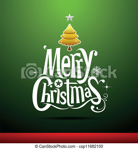 Merry Christmas lettering  - csp11682100