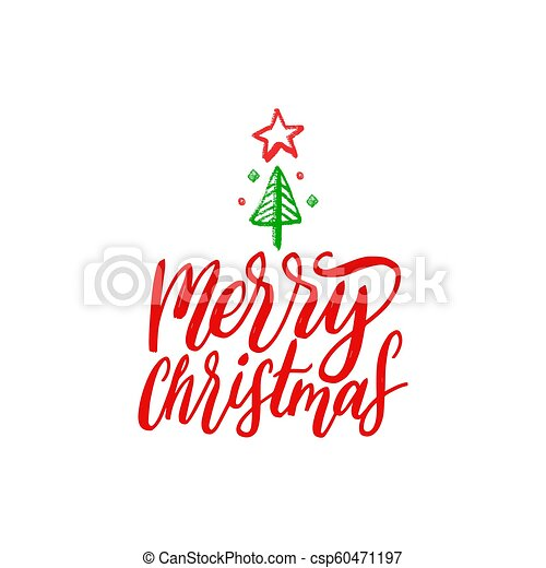 Christmas Lettering.Merry Christmas Lettering Vector Hand Drawn New Year Illustration Happy Holidays Greeting Card Poster Template