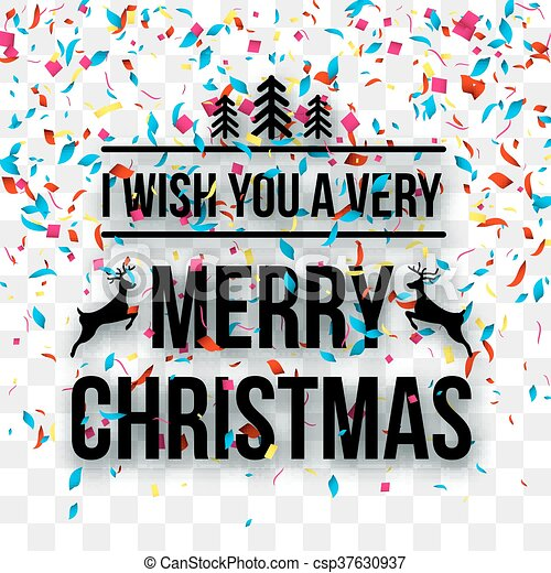 Merry Christmas No Background.Merry Christmas Letters Words On Transparent Background With Confetti Holiday Background