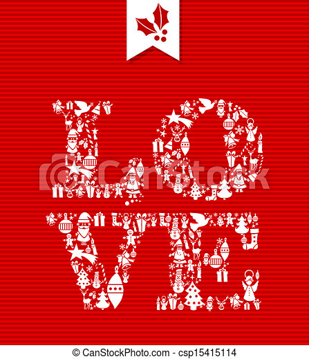 Merry christmas love concept icons. Merry christmas love text with ...