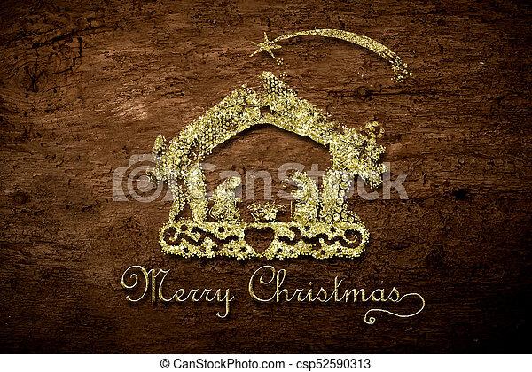 Golden Nativity Card