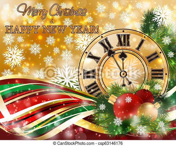 merry christmas new year banner with xmas clock vector illustration