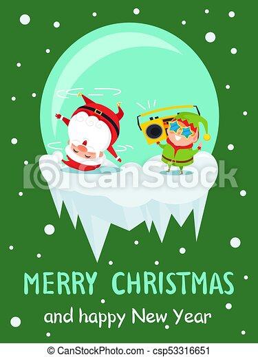 merry christmas new year poster santa dancing elf csp53316651 - Merry Christmas Elf
